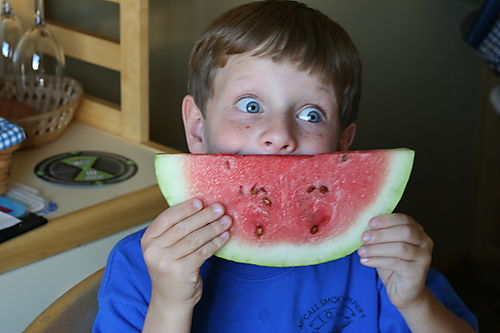 Aidan's watermelon smile
