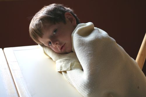 Aidan at breakfast